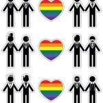 Gay man wedding 2 icons set with rainbow element — Stock Vector #76714357