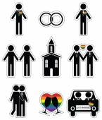 Gay man wedding 2 icons set with rainbow element — Stock Vector