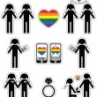 Gay man wedding 2 icons set with rainbow element — Stock Vector #76750599