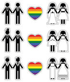 Lesbian brides and gay grooms icon 1 set with rainbow element — Stock Vector