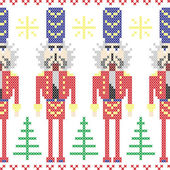 Nutcracker soldiers seamless christmas nordic pattern in cross stitch — Stock Vector