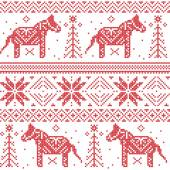 Nordic Christmas pattern with stars, snowflakes, horses in cross stitch. — Stock Vector