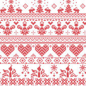 Scandinavian Nordic Christmas seamless cross stitch pattern with angels, Xmas trees, rabbits, snowflakes, candles in white and red with decorative ornaments — Stock Vector
