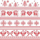 Scandinavian nordic xmas pattern with reindeer,rabbits, xmas trees, angels, bow, heart, in cross stitch — Stock Vector