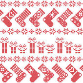 Scandinavian Nordic Christmas pattern with stockings, stars, snowflakes, presents in cross stitch in red — Stock Vector