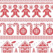 Scandinavian Nordic seamless pattern with ginger bread man, candy, ginger house, bauble, xmas trees in red cross stitch — Stock Vector