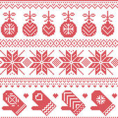 Scandinavian Nordic seamless Christmas pattern with Xmas baubles, gloves, stars, snowflakes, Xmas ornaments, snow element, hearts in red cross stitch — Stock Vector
