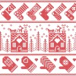Scandinavian Nordic Christmas seamless pattern with ginger bread house, stockings, gloves, reindeer, snow, snowflakes, tree, Xmas ornaments in red cross stitch — Stock Vector #79034162