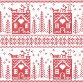 Scandinavian Nordic Christmas seamless  pattern with gingerbread house, snow, reindeer, Santa's  sleigh, trees, star, snow, Xmas gift, snowflakes in red cross stitch — Stock Vector