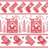 Scandinavian Nordic Christmas seamless pattern with ginger bread house, stockings, gloves, reindeer, snow, snowflakes, tree, Xmas ornaments in red cross stitch — Stock Vector