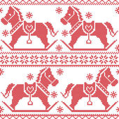 Scandinavian seamless Nordic Christmas pattern with rocking horses, snowflakes,hearts,  snow, stars, decorative ornaments in red cross stitch — Stock Vector