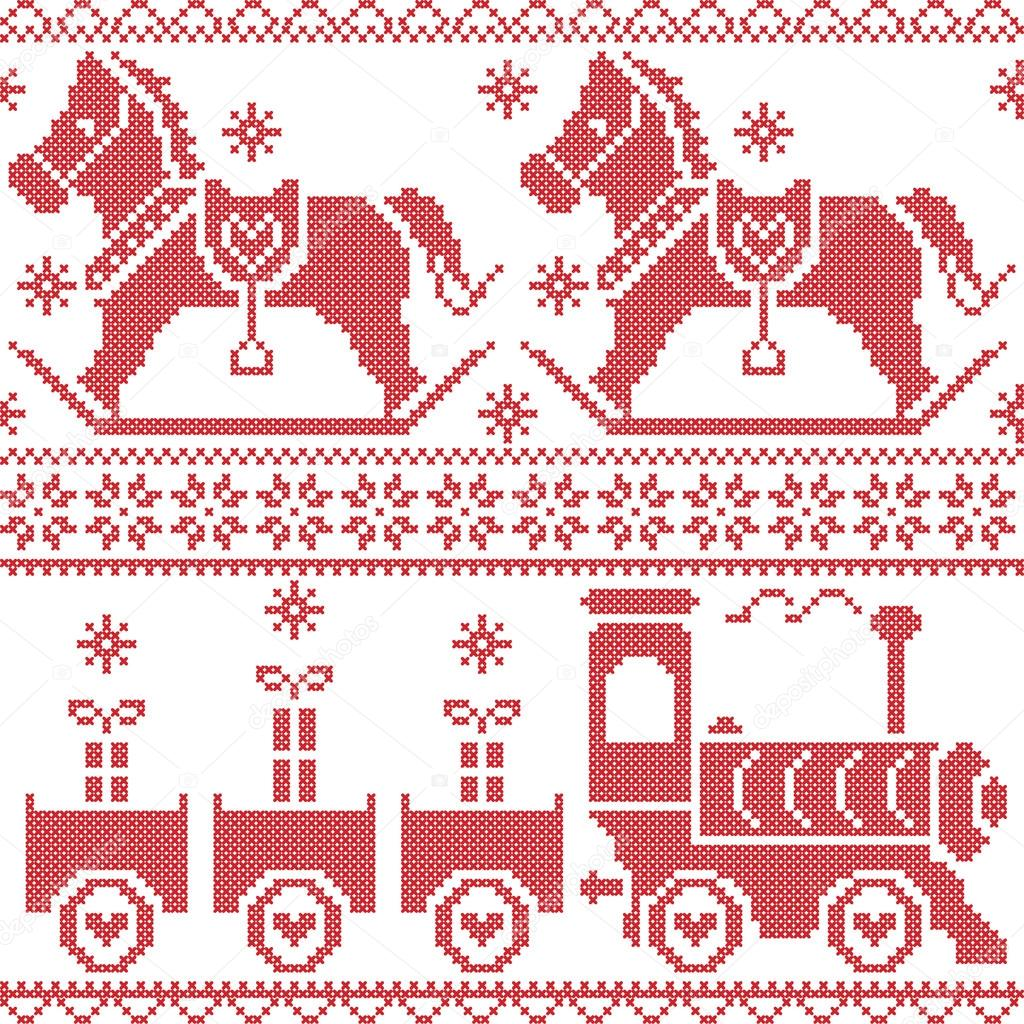 Nordic christmas ornaments - Scandinavian Seamless Nordic Christmas Pattern With Rocking Horse Stars Snowflakes Hearts Xmas Gifts Gravy Train Decorative Ornaments In Red Cross