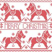 Merry Christmas Scandinavian seamless Nordic pattern , rocking dala pony horse, stars, snowflakes in red cross stitch — Stock Vector