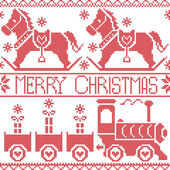 Merry Christmas Scandinavian seamless Nordic pattern with gravy train, Xmas gifts, hearts, rocking dala pony horse, stars, snowflakes in red cross stitch — Stock Vector
