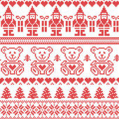 Scandinavian inspired Nordic xmas seamless pattern with elf, stars, teddy bears, snow, xmas  trees, snowflakes, stars, snow, decorative ornaments  in red cross stitch — Stock Vector
