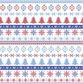 Dark and light blue and red Christmas Nordic pattern with snowflakes, trees ,  xmas trees and decorative ornaments in scandinavian knitted cross stitch — Stock Vector