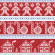 Dark blue, light blue and red Scandinavian nordic seamless pattern with gingerbread man, xmas candy candy cane, gingerbread house, xmas trees, heart, baubles, stars, snowflakes in cross stitch — Stock Vector #83145932