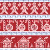 Dark blue, light blue and red Scandinavian nordic seamless pattern with gingerbread man, xmas candy candy cane, gingerbread house, xmas trees, heart, baubles, stars, snowflakes in cross stitch — Stock Vector