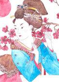 Japanese girl, watercolor — Stock Photo