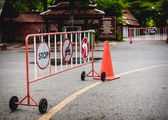 Signs no parking sign prohibiting the turn — Stock Photo