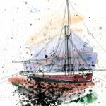 Sail boat  - watercolour painting — Stock Photo #67814625