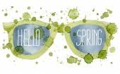 Spring sunglasses. Vector watercolor illustration. — Stock Vector