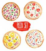 Pizza set. Vector watercolor illustration. — Stock Vector