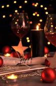 Table setting for Christmas with decorations — Stock Photo