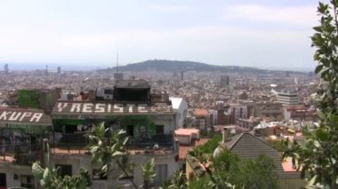 Barcelona's olympic area at distance — Stockvideo