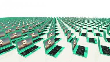 Birçok dizüstü bilgisayarlar — Stok video