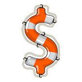 Dollar sign isolated lifebuoy — Stock Vector