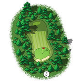 Vector golf course hole aerial isometric view — ストックベクタ