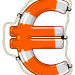 Постер, плакат: Euro sign isolated lifebuoy