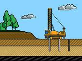 Mining rotary drill — Stock Vector