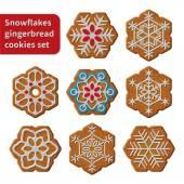 Gingerbread snowflakes cookies — Stock Vector