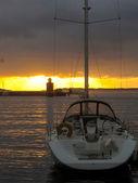 Norge solnedgång port ocean bergen båt — Stockfoto