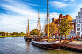 Germany. Luebeck. Vintage yacht at the dock. — Stock Photo