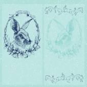 Vector graphic easter card with rabbit — Vetor de Stock