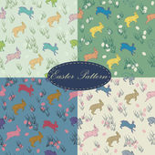 Colorful seamless easter textile pattern set with rabbits, eggs — Stock Vector