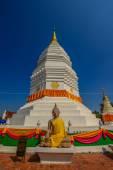 Traditional White Pagoda wuth Buddhist Umage — Stockfoto
