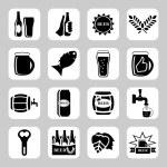 Beer vector icon set - bottle, glass, pint — Stock Vector #67810113