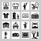 Advertisement, marketing icons set — Stock Vector