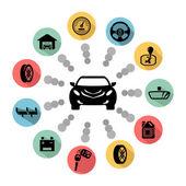 Car parts vector icons — Stock Vector