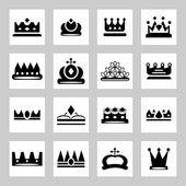 Kron - simgeleri ve siluetleri — Stok Vektör