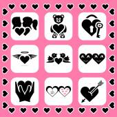 Love and couple related vector icon set — Stock Vector