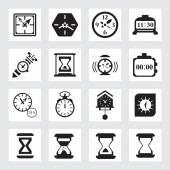 Vector black clock icons — Stock Vector