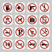 Prohibition signs, no symbols vector icon set — Stock Vector
