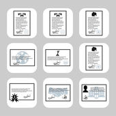 Vector document forms icon set — Stock Vector