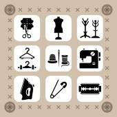 Needlework, sewing and knitting vector icon set — Stock Vector