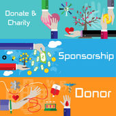 Flat style charity, sponsorship and donor banners — Stock vektor
